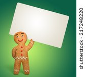 Gingerbread Man Holding Blank...