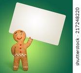 gingerbread man holding blank... | Shutterstock . vector #217248220