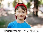 Little young caucasian boy in nature, childhood
