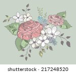 background with a bouquet of... | Shutterstock .eps vector #217248520
