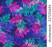 tropical palm leaf pattern neon ... | Shutterstock .eps vector #217252654