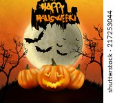 halloween party background with ... | Shutterstock .eps vector #217253044