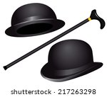 Two Hats And Cane On White...
