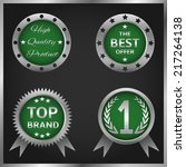 set of vector green badges and... | Shutterstock .eps vector #217264138
