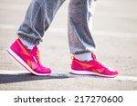 training on a stadium at sunset ... | Shutterstock . vector #217270600
