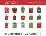 christmas gifts set. a... | Shutterstock .eps vector #217285744