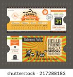 halloween card in train ticket... | Shutterstock .eps vector #217288183