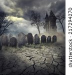 hunted house on spooky graveyard | Shutterstock . vector #217294270