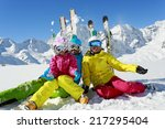 skiing  winter  snow  skiers ... | Shutterstock . vector #217295404