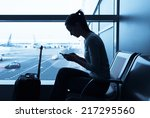 woman using internet in the... | Shutterstock . vector #217295560