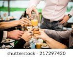 young people congratulate each... | Shutterstock . vector #217297420