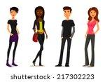 cute cartoon people in colorful ...   Shutterstock . vector #217302223