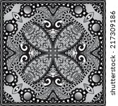 grey ornamental floral paisley... | Shutterstock .eps vector #217309186
