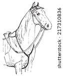horse chest  vintage engraved... | Shutterstock .eps vector #217310836