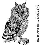 original artwork of owl  ink... | Shutterstock .eps vector #217311673