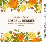 vintage wedding invitation with ... | Shutterstock .eps vector #217314568