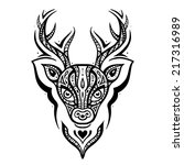 deer head. tribal pattern....   Shutterstock .eps vector #217316989