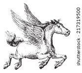 pegasus  vintage engraved... | Shutterstock .eps vector #217319500
