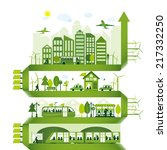 green alternative energy city | Shutterstock .eps vector #217332250