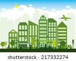 green alternative energy city | Shutterstock .eps vector #217332274