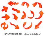red glossy 3d arrows icons set... | Shutterstock .eps vector #217332310