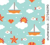 seamless pattern  summer  fish... | Shutterstock .eps vector #217346590