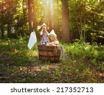 a little boy and girl are... | Shutterstock . vector #217352713