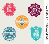 set of retro labels and signs | Shutterstock . vector #217361293