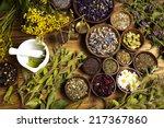 natural medicine  herbs | Shutterstock . vector #217367860