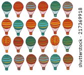 set of hand drawn air balloons... | Shutterstock .eps vector #217369918