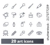 art tools icons  vector set of... | Shutterstock .eps vector #217377259