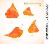 orange yellow watercolor birch... | Shutterstock .eps vector #217380220