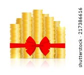 columns of gold coins  knotted... | Shutterstock .eps vector #217386616