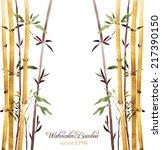 Watercolor Bamboo Grove  Hand...