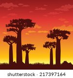 silhouette of baobabs on a... | Shutterstock .eps vector #217397164