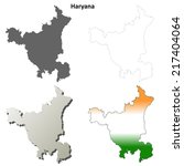 Haryana blank detailed outline map set - vector version