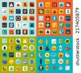 set of flat icons  ramadan... | Shutterstock .eps vector #217405879