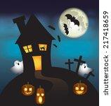 halloween vector card. vector... | Shutterstock .eps vector #217418659