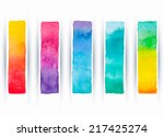 set of five colored watercolor...
