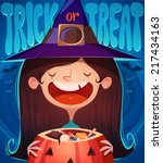 little cute witch. halloween... | Shutterstock .eps vector #217434163