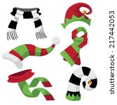 fun holiday hats and scarves... | Shutterstock .eps vector #217442053