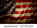 closeup of grunge american flag | Shutterstock . vector #217451134