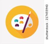 art palette with paint brush...   Shutterstock .eps vector #217455940