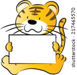 animals,blank,cartoon,cub,cute,drawing,happy,paper,sign,talk,tiger,vector