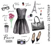 fashion illustration. paris... | Shutterstock . vector #217475569