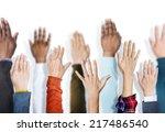 multiethnic group of hands... | Shutterstock . vector #217486540