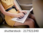 businesswoman with document and ... | Shutterstock . vector #217521340