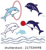 preview dolphins are jumping... | Shutterstock .eps vector #217534498