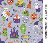 cartoon halloween seamless...   Shutterstock .eps vector #217536448
