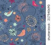 vector cute seamless floral... | Shutterstock .eps vector #217540690